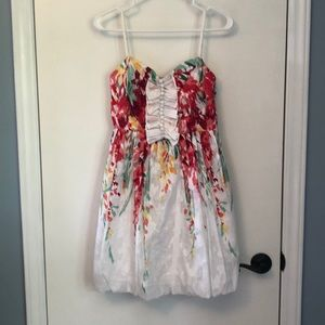 White and floral dress